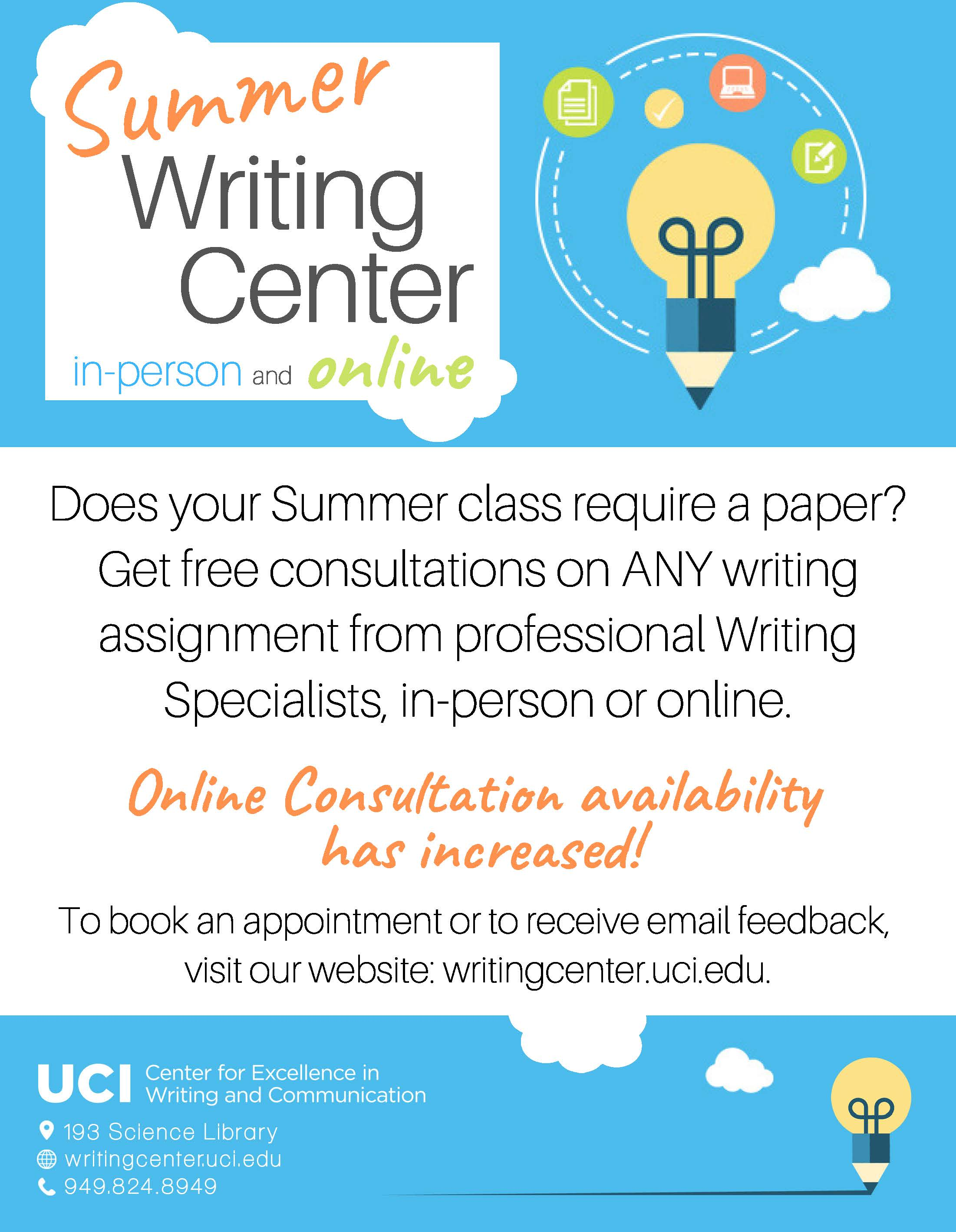 Writing Center Services FREE SUMMER