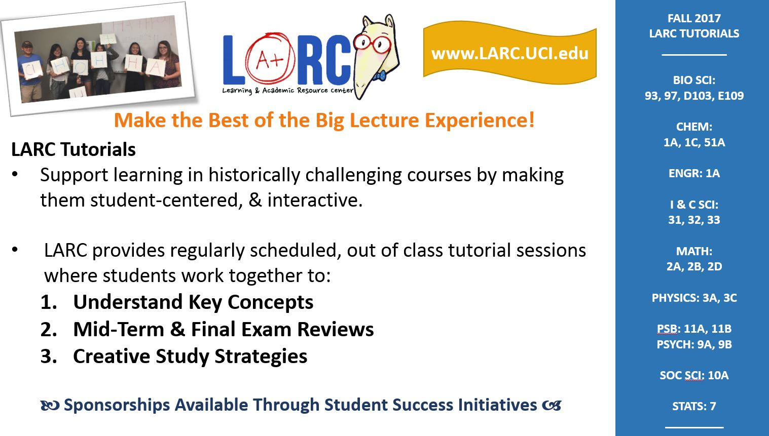 Fall 2017 LARC Tutorials