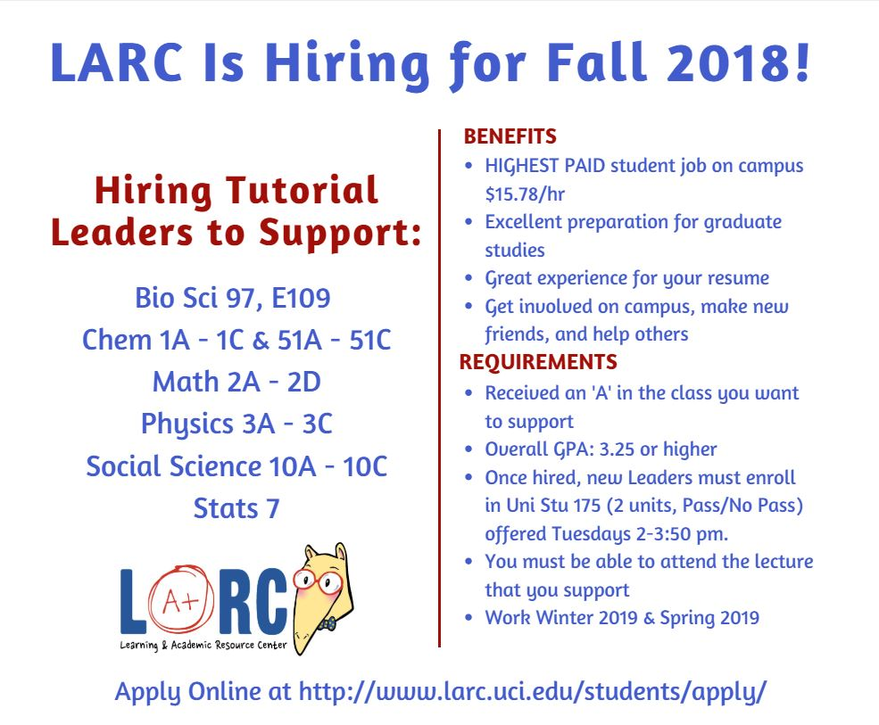 LARC is Hiring for Fall!