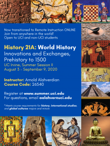 Exploring History Through Innovations and Exchanges: Spotlight on UCI Summer Session 2020