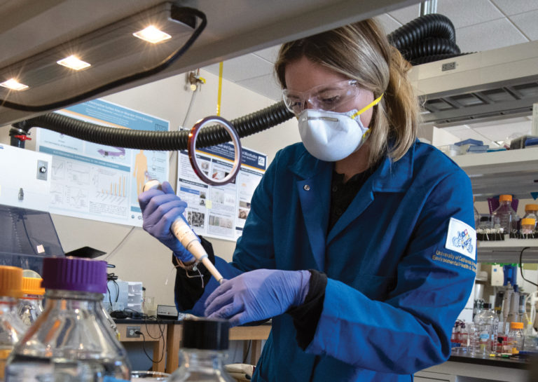 Julia Zakashansky, materials science and engineering doctoral student, spearheads the CoronaStrip effort in the Khine lab. Steve Zylius/UCI